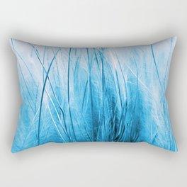 Feather Grass Blue Rectangular Pillow