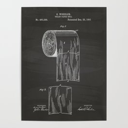 Toilet Paper Roll 1891 Patent Art Illustration Chalkboard Poster