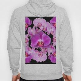 Purple & Pink Butterfly Orchids On Black Art Hoody