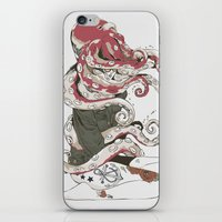 huebucket iPhone & iPod Skins featuring My head is an octopus by Huebucket