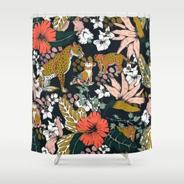 Animal print dark jungle Shower Curtain