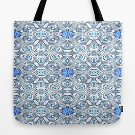 Blue White and Grey Structured Floral Geometric Tote Bag