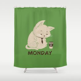 Monday Cat Shower Curtain