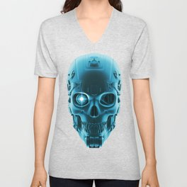 Gamer Skull BLUE TECH / 3D render of cyborg head Unisex V-Neck