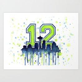 Seattle 12th Man Fan Art Seattle Space Needle Art Print
