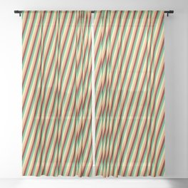 Pale Goldenrod, Brown, Maroon, and Sea Green Colored Lines/Stripes Pattern Sheer Curtain