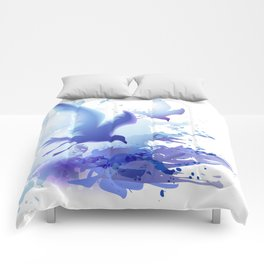 Watercolor sea ocean waves seascape with realistic birds, gulls, abstract water. Realism. Art. Comforters