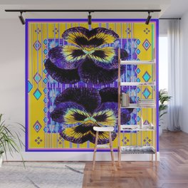 Western Style Double Purple & Gold Pansy Wall Mural