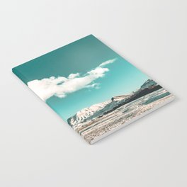 Vintage Desert Snow Cloud // Scenic Desert Landscape in Winter Fluffy Clouds Snow Mountains Cacti Notebook