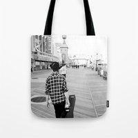 boardwalk empire Tote Bags featuring Boardwalk by Ethan Luck