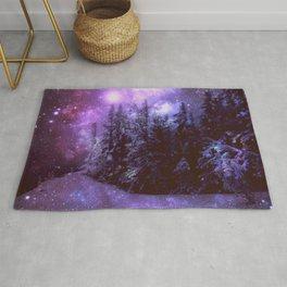 Galaxy Winter Forest Purple Rug