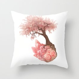 Cherry Tree and Rhodochrosite Throw Pillow