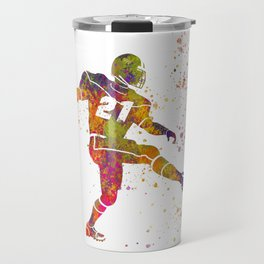 American football player in watercolor 33 Travel Mug