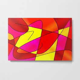 ABSTRACT CURVES #2 (Reds, Oranges, Yellow & Fuchsias) Metal Print