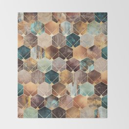 Natural Hexagons And Diamonds Throw Blanket