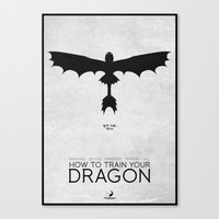 how to train your dragon Canvas Prints featuring How To Train Your Dragon - minimal poster by Mads Hindhede Svanegaard