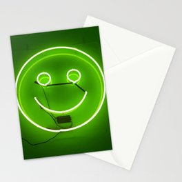 GREEN SMILE NEON SIGN Stationery Cards