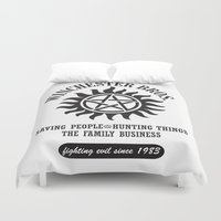 dean winchester Duvet Covers featuring SUPERNATURAL WINCHESTER BROTHERS DEAN AND SAM by thischarmingfan