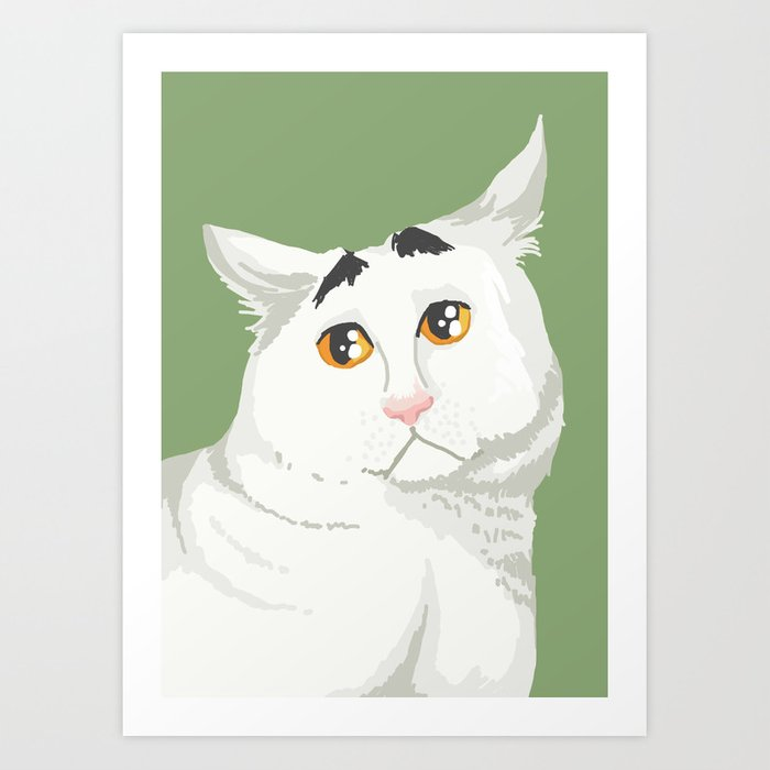 Sam the Cat with Eyebrows Art Print