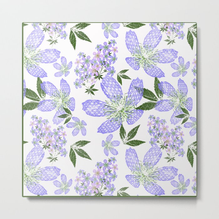 Delicate blue flowers on a white background. Metal Print