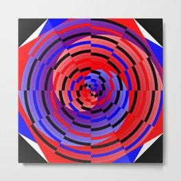 Red & Blue Counter Spiral Metal Print