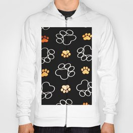 Dog Puppy Paw Prints Gifts Black and Gold Hoody