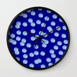 Blue Polka Dots Pattern on Deep Blue Wall Clock