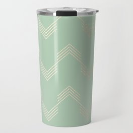 Simply Deconstructed Chevron in White Gold Sands and Pastel Cactus Green Travel Mug
