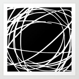 Black and White Circles and Swirls Modern Abstract Art Print