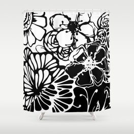 Black & White Floral Zentangle Doodle Design Shower Curtain