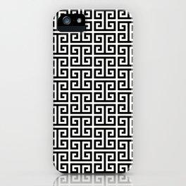 Black and White Greek Key Pattern iPhone Case