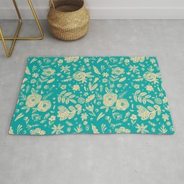 Hand Drawn Flower Pattern 5 Rug