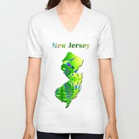 new jersey V-neck T-shirts featuring New Jersey Map by Roger Wedegis