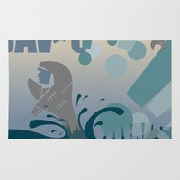 jaws Area & Throw Rugs featuring Jaws! by LivingIllustrations