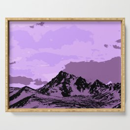 Chugach Mountains - EggPlant Pop Art Serving Tray