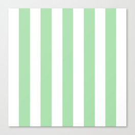 Celadon green - solid color - white vertical lines pattern Canvas Print