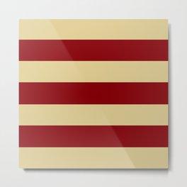 Tan and Red Stripes Metal Print
