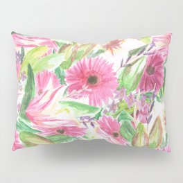 Pink Floral Print Pillow Sham