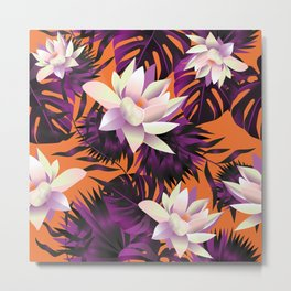 Botanic pattern orange Metal Print