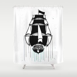 Pirate Ship [Watercolor] Shower Curtain