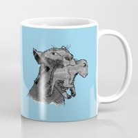 newspaper Mugs featuring Newspaper Lions by Doolin