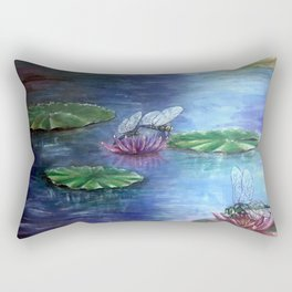 Dragonflies and water lilies Rectangular Pillow