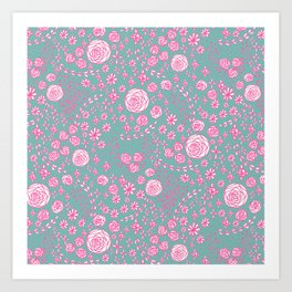 Abstract pink garden pattern in cian background Art Print