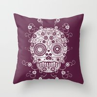 sugar skull Throw Pillows featuring Sugar Skull by Farnell