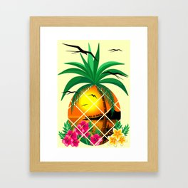 Pineapple Tropical Sunset, Palm Tree and Flowers Framed Art Print