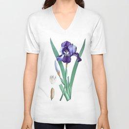 Vintage Botanical Purple Iris Flower Unisex V-Neck