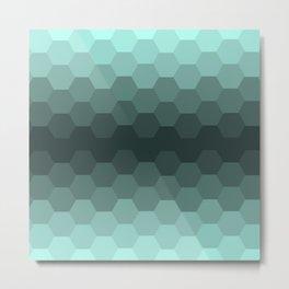 Teal Mint Honeycomb Metal Print