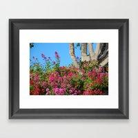 Flowers Around a Tree, Yachats, Oregon Framed Art Print