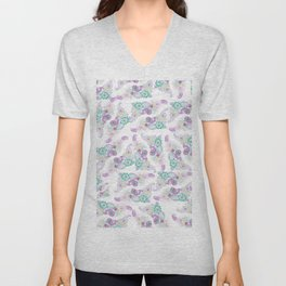 Modern lavender hand drawn paisley floral Unisex V-Neck