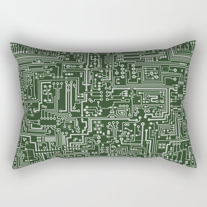 Circuit Board // Green & Silver Rectangular Pillow